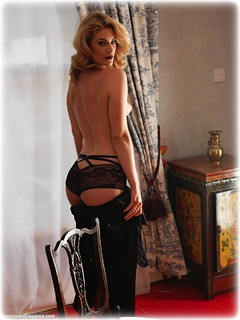 Bondage photo pic picture Artemis Fauna rope bondage, barefoot, blindfold, blonde, lingerie, dress, topless, ungagged