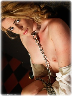 Bondage photo pic picture Artemis Fauna barefoot, blonde, shackles, leg irons, sm factory, chains, metal bondage, collar, dress, topless, ungagged
