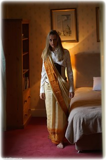 Bondage photo pic picture Ayla Rose rope bondage, barefoot, sari, satin, blonde, blouse, silk, skirt, corset, nude, dungeon, ungagged