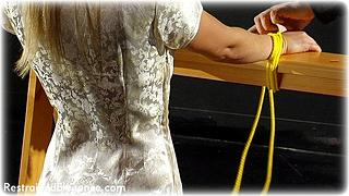 Bondage photo pic picture Belle rope bondage, barefoot, bastinado, satin, hot wax, humiliation, silk, slave training, chinese dress, foot torture
