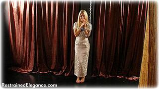 Bondage photo pic picture Belle barefoot, satin, shackles, silk, leg irons, slave training, chains, chinese dress, metal bondage, collar