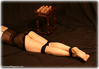 Bondage photo pic picture Beata rope gag, barefoot, hot wax, lingerie, foot torture