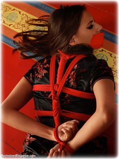 Bondage photo pic picture Becky Perry rope bondage, barefoot, satin, hogtie, silk, brunette, chinese dress, tape gag