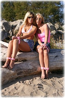 Bondage photo pic picture Belle and Debby Turpin rope bondage, girlgirl, barefoot, outdoor