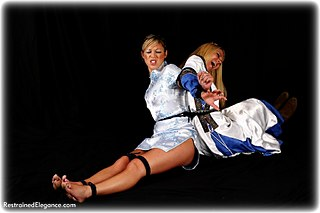 Bondage photo pic picture Petra Morgan and Belle rope bondage, girlgirl, barefoot, satin, boots, silk, chinese dress, medieval