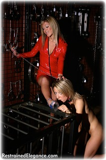 Bondage photo pic picture Belle and Sabrina girlgirl, barefoot, cage, lesbian, chains, collar, nude