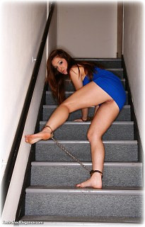 Bondage photo pic picture Cate Harrington barefoot, handcuffs, humiliation, leg irons, nude