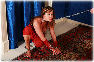 Bondage photo pic picture Christina Carter barefoot, harem, humiliation, shackles, leg irons, slave training, chains, metal bondage, collar