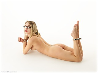Bondage photo pic picture Chloe Toy barefoot, glasses, globe cuffs, blonde, leg irons, metal bondage, nude, collar, ungagged