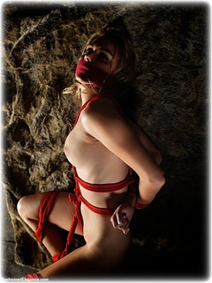 Bondage photo pic picture Chloe T barefoot, blonde, nude, tape gag, crotch rope, dungeon, rope bondage