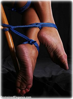 Bondage photo pic picture Christina Carter rope bondage, barefoot, shoes, cloth gag