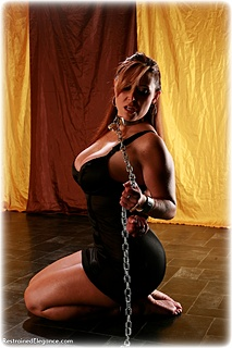 Bondage photo pic picture Christina Carter barefoot, shackles, slave training, chains, metal bondage, collar, crotch rope