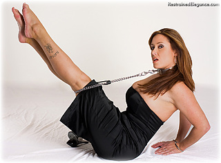 Bondage photo pic picture Christina Carter ballgown, barefoot, handcuffs, humiliation, shoes, slave training, collar