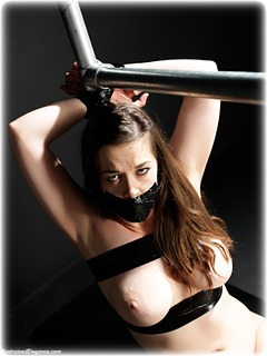 Bondage photo pic picture Clover barefoot, bondage tape, brunette, nude, tape gag