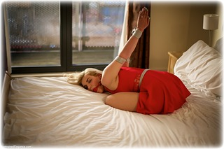 Bondage photo pic picture Bad Dolly rope bondage, ballgag, barefoot, bedroom, blonde, dress