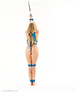 Bondage photo pic picture Danielle Maye barefoot, blonde, cloth gag, nude, crotch rope, ungagged, rope bondage
