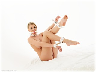 Bondage photo pic picture Danielle Maye gag, barefoot, blonde, leather bondage, nude, ungagged