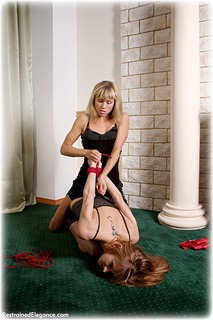 Bondage photo pic picture Delta and Dolly rope bondage, girlgirl, barefoot, blonde, hogtie, lesbian, cloth gag, dress, redhead