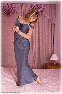 Bondage photo pic picture Delta ballgown, barefoot, handcuffs, leg irons, chains