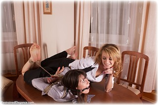 Bondage photo pic picture Juliana and Dolly ballgag, rope bondage, girlgirl, barefoot, satin, blonde, blouse, humiliation, silk, brunette, skirt, business wear, lesbian, tickle, tickling, pencil skirt, ungagged