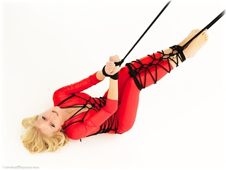 Bondage photo pic picture Dolly Xx barefoot, rope bondage, blonde, ungagged