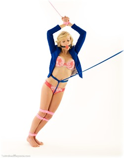 Bondage photo pic picture Dolly Xx ballgag, rope bondage, barefoot, blonde, lingerie, crotch rope, ungagged