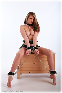 Bondage photo pic picture Elle Tyler barefoot, leather bondage, chains, lingerie, collar, topless, ungagged