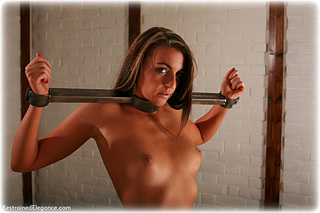 Bondage photo pic picture Elle Tyler barefoot, leg irons, lingerie, metal bondage, topless, ungagged, yoke