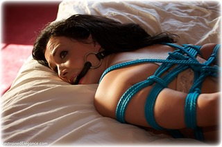 Bondage photo pic picture Faye barefoot, rope bondage, bedroom, bit gag, hogtie, brunette, lingerie, ungagged