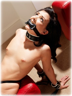 Bondage photo pic picture Faye rope bondage, barefoot, brunette, slave training, leather bondage, collar, nude, ungagged