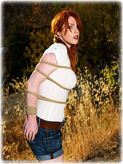 Bondage photo pic picture Fi Stevens rope bondage, humiliation, boots, jeans, outdoor, ungagged