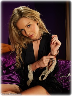 Bondage photo pic picture Fiona Jane barefoot, bedroom, satin, handcuffs, blonde, self bondage, silk, leg irons, lingerie, metal bondage, nightwear, topless, ungagged