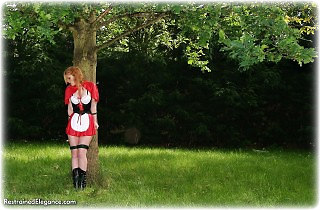 Bondage photo pic picture Fi Stevens rope bondage, boots, outdoor, topless, uniform