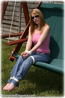 Bondage photo pic picture Fi Stevens rope bondage, barefoot, jeans, outdoor, topless, ungagged