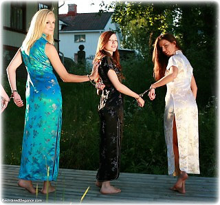 Bondage photo pic picture Ariel Anderssen, Pling, Sophia Smith, Temptress Kate and Kobe Lee barefoot, handcuffs, satin, silk, chinese dress, metal bondage