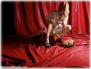 Bondage photo pic picture Lilith and Foxy rope bondage, barefoot, satin, handcuffs, hogtie, humiliation, silk, chinese dress, ungagged