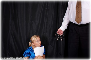 Bondage photo pic picture Foxy barefoot, satin, handcuffs, hogtie, blouse, shoes, silk, business wear, skirt, leg irons, cloth gag, metal bondage