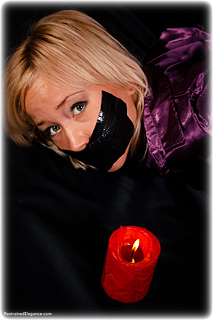 Bondage photo pic picture Foxy rope bondage, barefoot, satin, hogtie, hot wax, silk, slave training, tape gag, gag, foot torture