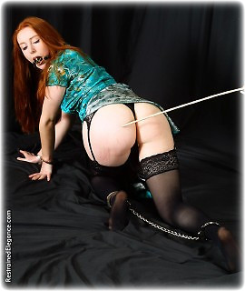 Bondage photo pic picture Gemma Craven handcuffs, bit gag, latex, leather bondage, chains, spanking, chinese dress, stockings, collar, corporal punishment, riding crop, whipping