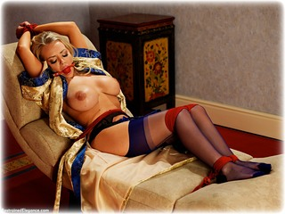 Bondage photo pic picture Hannah Claydon ballgag, rope bondage, satin, blonde, silk, lingerie, stockings, topless, ungagged