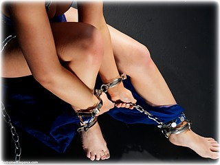 Bondage photo pic picture Hannah Claydon barefoot, handcuffs, bit gag, harem, leg irons, chains, metal bondage, collar