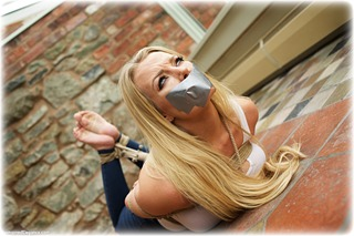 Bondage photo pic picture Hannah Claydon and Ariel Anderssen rope bondage, barefoot, blonde, hogtie, jeans, tape gag