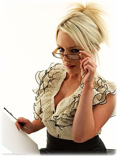 Bondage photo pic picture Hannah Claydon rope bondage, barefoot, glasses, blouse, business wear, skirt, ungagged