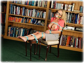 Bondage photo pic picture Hannah Claydon ballgag, barefoot, blonde, blouse, skirt, business wear, pencil skirt, topless, ungagged, rope bondage