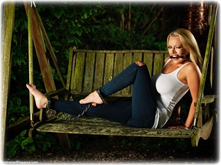 Bondage photo pic picture Hannah Claydon barefoot, bit gag, handcuffs, blonde, humiliation, jeans, leg irons, metal bondage, denim, outdoor, ungagged