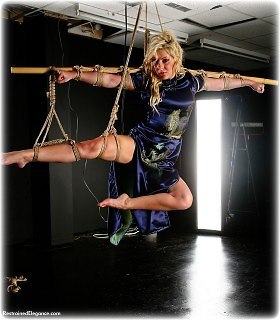 Bondage photo pic picture Hannah and Chanta Rose barefoot, rope bondage, satin, chinese dress, suspension