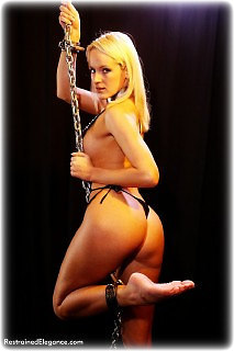Bondage photo pic picture Jamie barefoot, shackles, leg irons, chains, lingerie, metal bondage, topless
