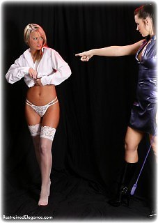 Bondage photo pic picture Maria Stevens and Jasmine Sinclair barefoot, girlgirl, humiliation, lesbian, nude, pvc, slave training, stockings, topless