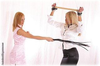Bondage photo pic picture Jasmine Sinclair and Lucy Zara girlgirl, rope bondage, barefoot, blouse, humiliation, shoes, lesbian, spanking, chinese dress, spreader bar, paddle, whipping