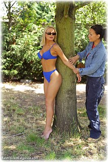 Bondage photo pic picture Jasmine Sinclair girlgirl, barefoot, handcuffs, humiliation, lesbian, outdoor